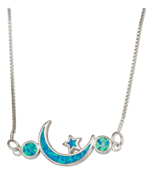 Sterling Silver 18 inch Synthetic Blue Opal Star and Crescent Moon Necklace