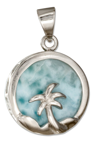 Sterling Silver Round Larimar Pendant with Palm Tree
