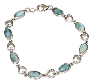 Sterling Silver 7.5 inch Oval Larimar Bracelet with Open Hearts