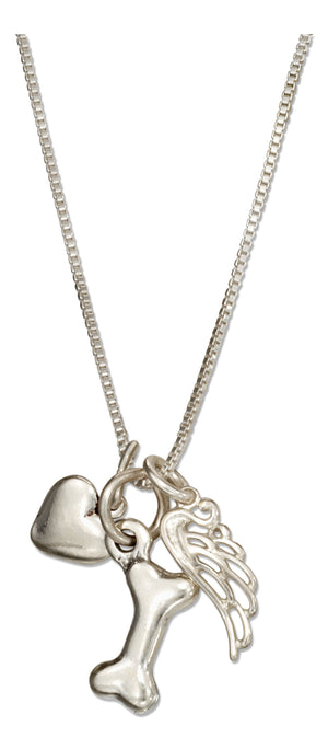 Sterling Silver 18 inch Dog Bone Necklace with Heart with Angel Wing Charms