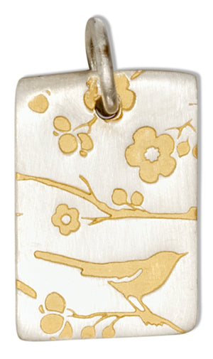 Sterling Silver Gold Colored Batik Songbird Print Charm