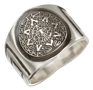 Sterling Silver Mens Aztec Calendar Band Ring