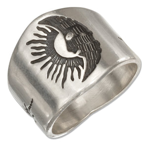 Sterling Silver Mens Sun and Moon Band Ring