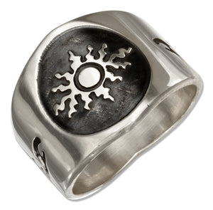 Sterling Silver Mens Sun Band Ring