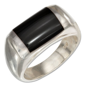 Sterling Silver Mens Simulated Black Jet Ring
