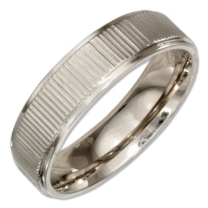 Stainless Steel 6mm Wedding Band Ring with Coin Edge
