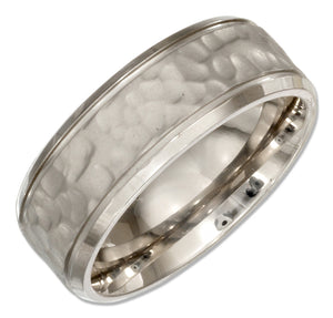 Stainless Steel 8mm Mens Hammered Wedding Band Ring