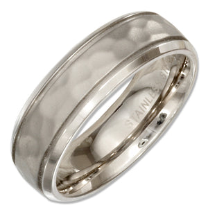 Stainless Steel 6mm Womens Hammered Wedding Band Ring