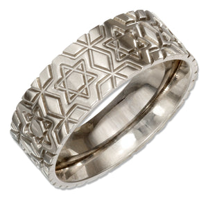 Stainless Steel 8mm Wedding Band Ring with Star Of David Pattern