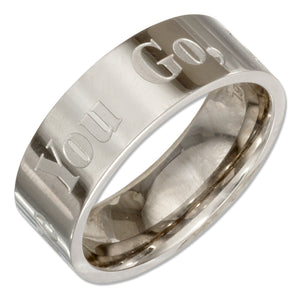 "Stainless Steel 8mm ""Where You Go I Will Go"" Wedding Band Ring"