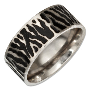 Stainless Steel 9mm Animal Print Wedding Band Ring