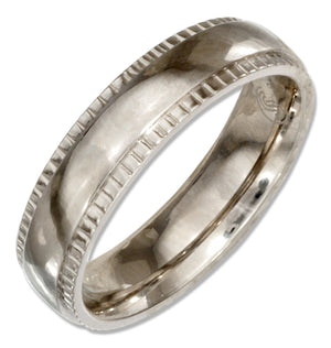 Stainless Steel 5mm Wedding Band Ring with Coin Edges