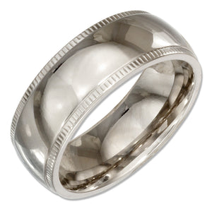 Stainless Steel 8mm Wedding Band with Coin Edges