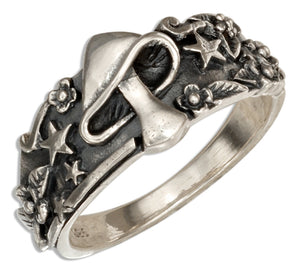 Sterling Silver Mushroom with Stars Ring