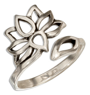 Sterling Silver Adjustable Open Lotus Flower Ring
