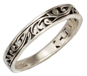 Sterling Silver Open Scrolls Band Ring