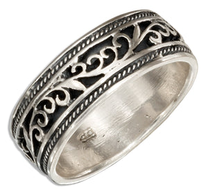 Sterling Silver 7mm Filigree Band Ring with Antiqued Inset