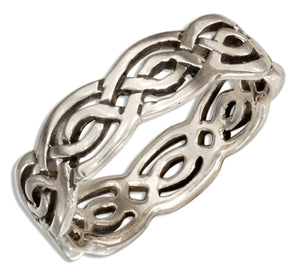 Sterling Silver 6mm Open Celtic Weave Band Ring