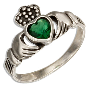 Sterling Silver Irish Claddagh Ring with Green Glass Heart