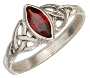 Sterling Silver Celtic Trinity Knot Ring with Red Glass Marquise