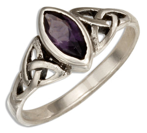 Sterling Silver Celtic Trinity Knot Ring with Purple Glass Marquise