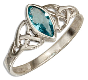Sterling Silver Celtic Trinity Knot Ring with Blue Glass Marquise
