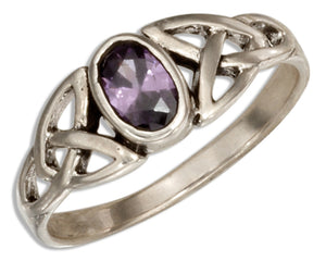 Sterling Silver Celtic Trinity Knot Ring with Purple Glass Oval
