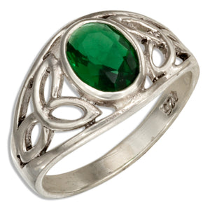 Sterling Silver Celtic Trinity Knots Band Ring with Green Glass