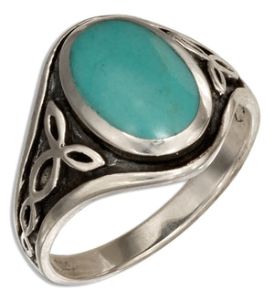 Sterling Silver Celtic Knots Ring with Simulated Turquoise