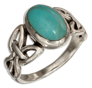 Sterling Silver Celtic Knot Ring with Simulated Turquoise Oval