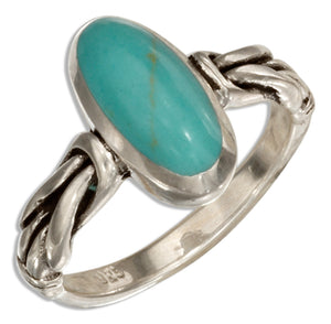 Sterling Silver Oval Simulated Turquoise Ring with Knot Band