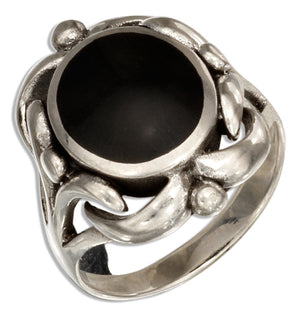 Sterling Silver Oval Simulated Black Onyx Ring with Scrolled Frame