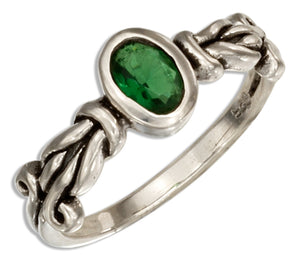 Sterling Silver Oval Green Glass Ring with Knot Band