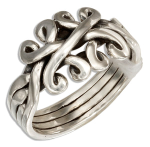 Sterling Silver Celtic Four Band Puzzle Ring