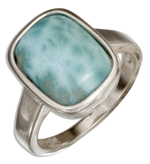Sterling Silver Cushion Shape Larimar Ring