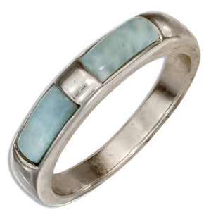 Sterling Silver Double Brick Larimar Band Ring