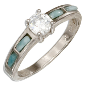 Sterling Silver Cubic Zirconia Ring with Larimar Accents