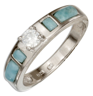 Sterling Silver Cubic Zirconia Ring with Larimar Side Stones