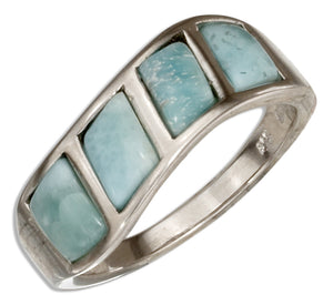 Sterling Silver Multi Stone Larimar Wave Band Ring
