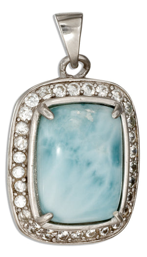 Sterling Silver Cushion Shape Larimar Pendant with Pave Cubic Zirconia Frame