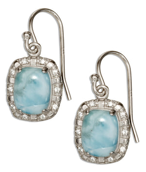 Sterling Silver Cushion Shape Larimar Earrings with Cubic Zirconia Accent Frame