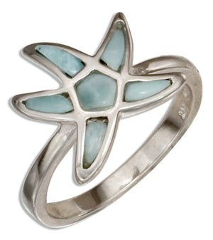 Sterling Silver Larimar Starfish Ring