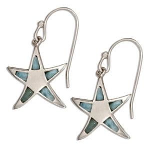 Sterling Silver Larimar Starfish Earrings