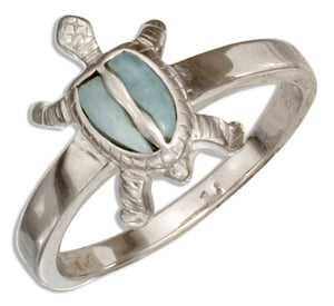 Sterling Silver Larimar Turtle Ring