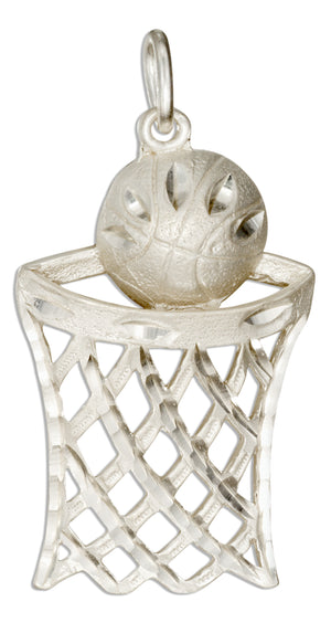 Sterling Silver Large Basketball Net with Basketball Charm