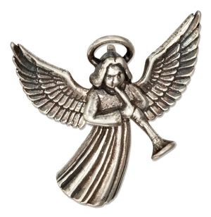 Sterling Silver Angel with Trumpet Pendant