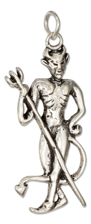 Sterling Silver Devil Charm with Pitchfork