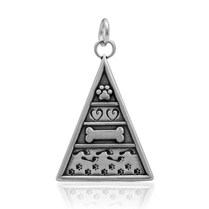 Sterling Silver Dog Pyramid Of Life Pendant What's Important To Dogs