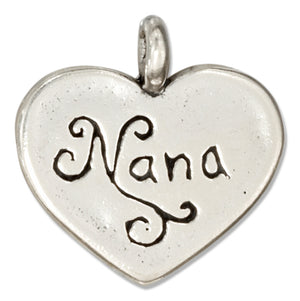 "Sterling Silver ""Nana"" Message Heart Pendant"