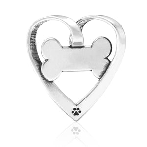 Sterling Silver Sweetheart Bone Open Heart with Dog Bone Slider Pendant